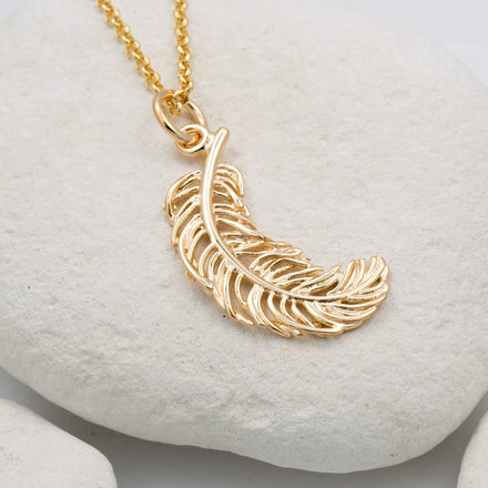 Personalised Large Gold Plated Feather Necklace - Lily Charmed