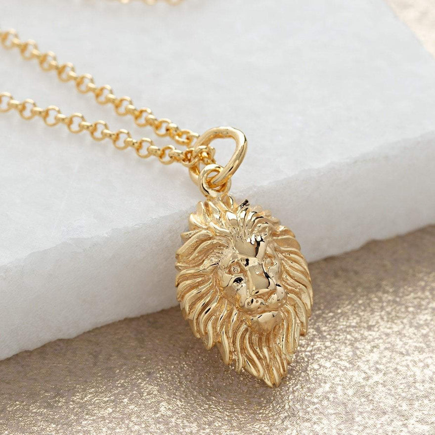 Personalised Gold Plated Lion Head Necklace - Lily Charmed