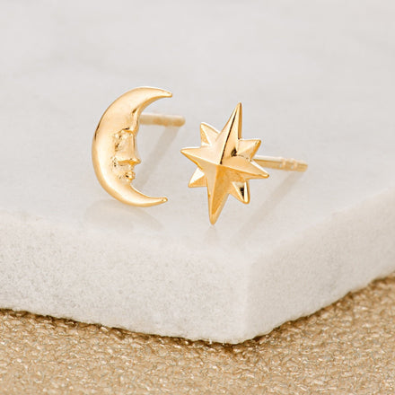 Gold Plated Moon and Star Stud Earrings - Lily Charmed