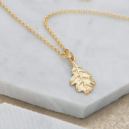 Personalised Gold Plated Oak Leaf Necklace - Lily Charmed