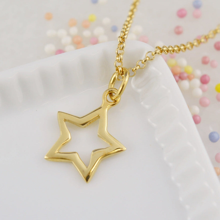 Personalised Gold Plated Open Star Necklace - Lily Charmed