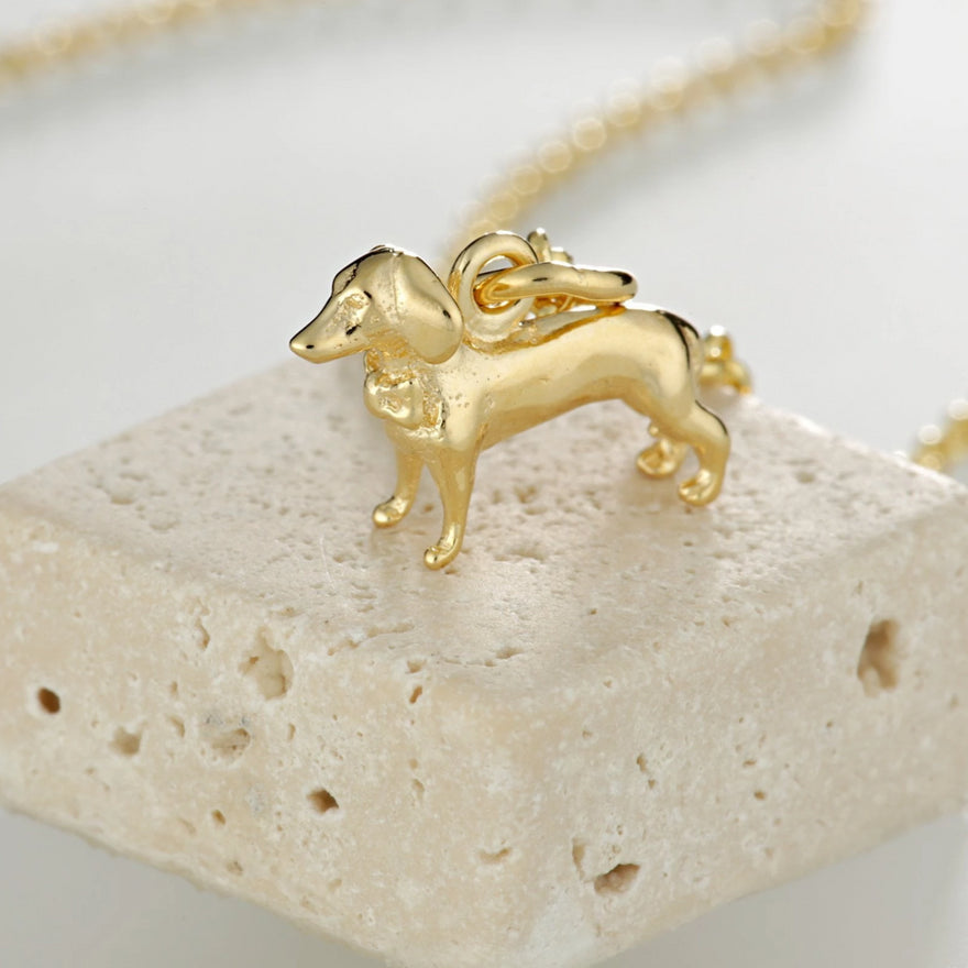Personalised Gold Plated Sausage Dog Necklace - Lily Charmed