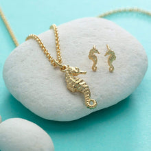Gold Plated Seahorse Jewellery Set With Stud Earrings - Lily Charmed