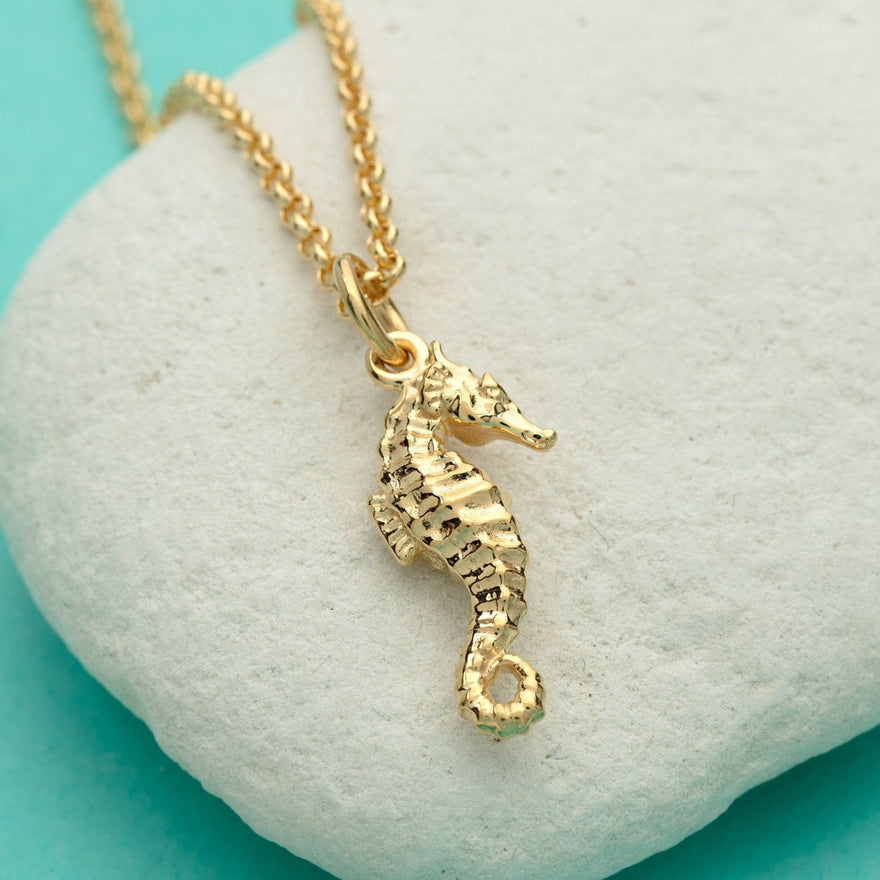 Personalised Gold Plated Seahorse Necklace - Lily Charmed