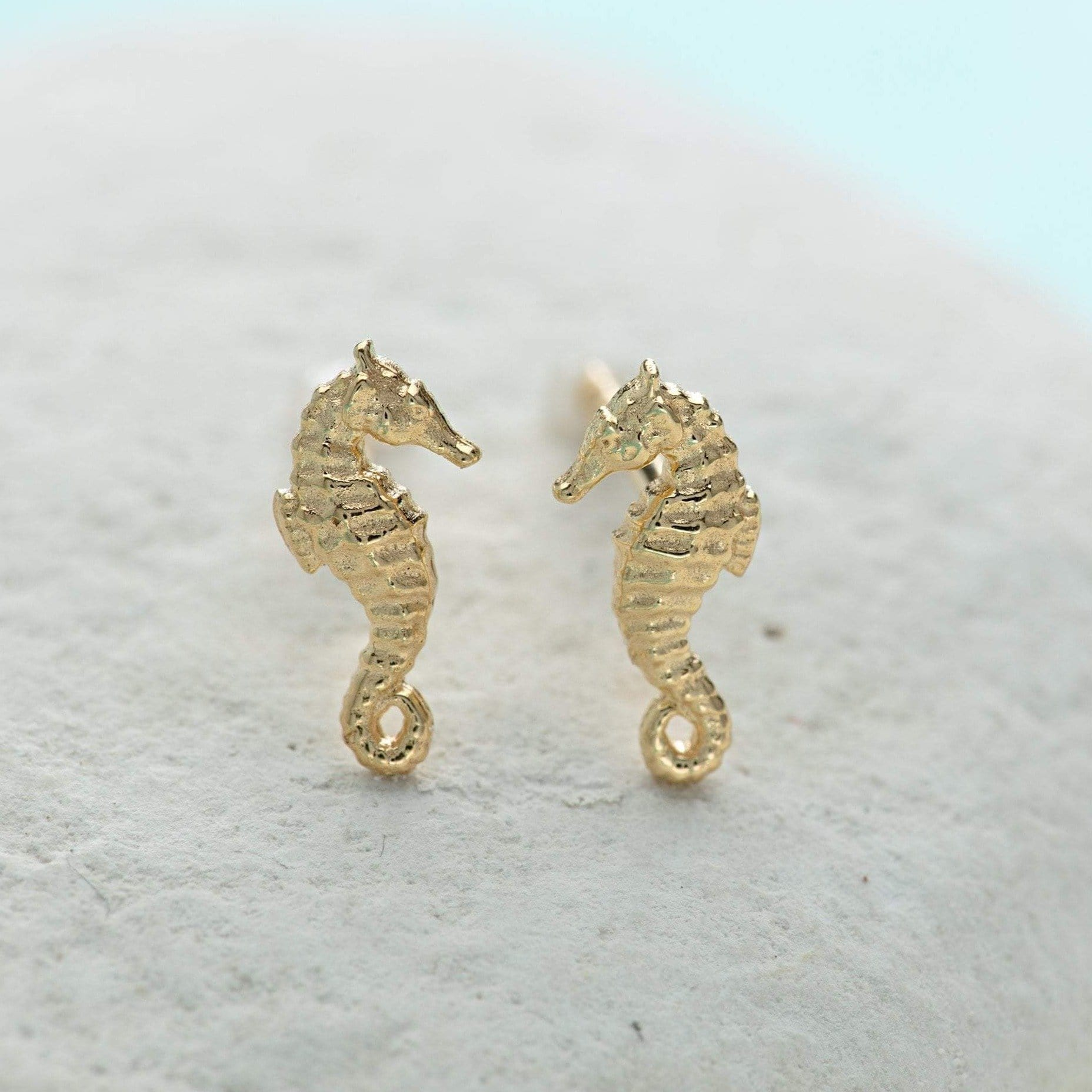 Gold Plated Seahorse Stud Earrings - Lily Charmed