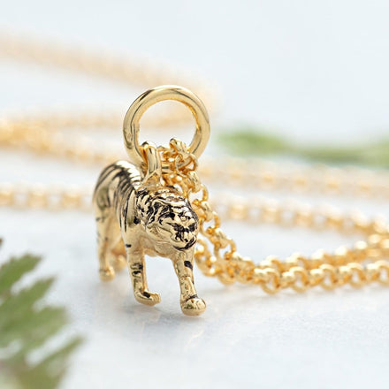 Personalised Gold Plated Tiger Necklace - Lily Charmed