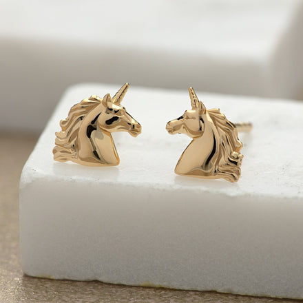 Gold Plated Unicorn Stud Earrings - Lily Charmed