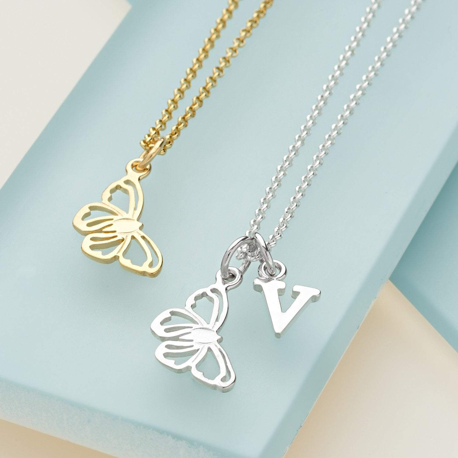 Personalised Gold Plated Butterfly Necklace - Lily Charmed