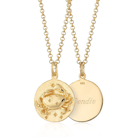 Engraved Gold Plated Cancer Zodiac Necklace - Lily Charmed