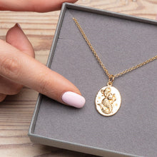 Engraved Gold Plated Capricorn Zodiac Necklace