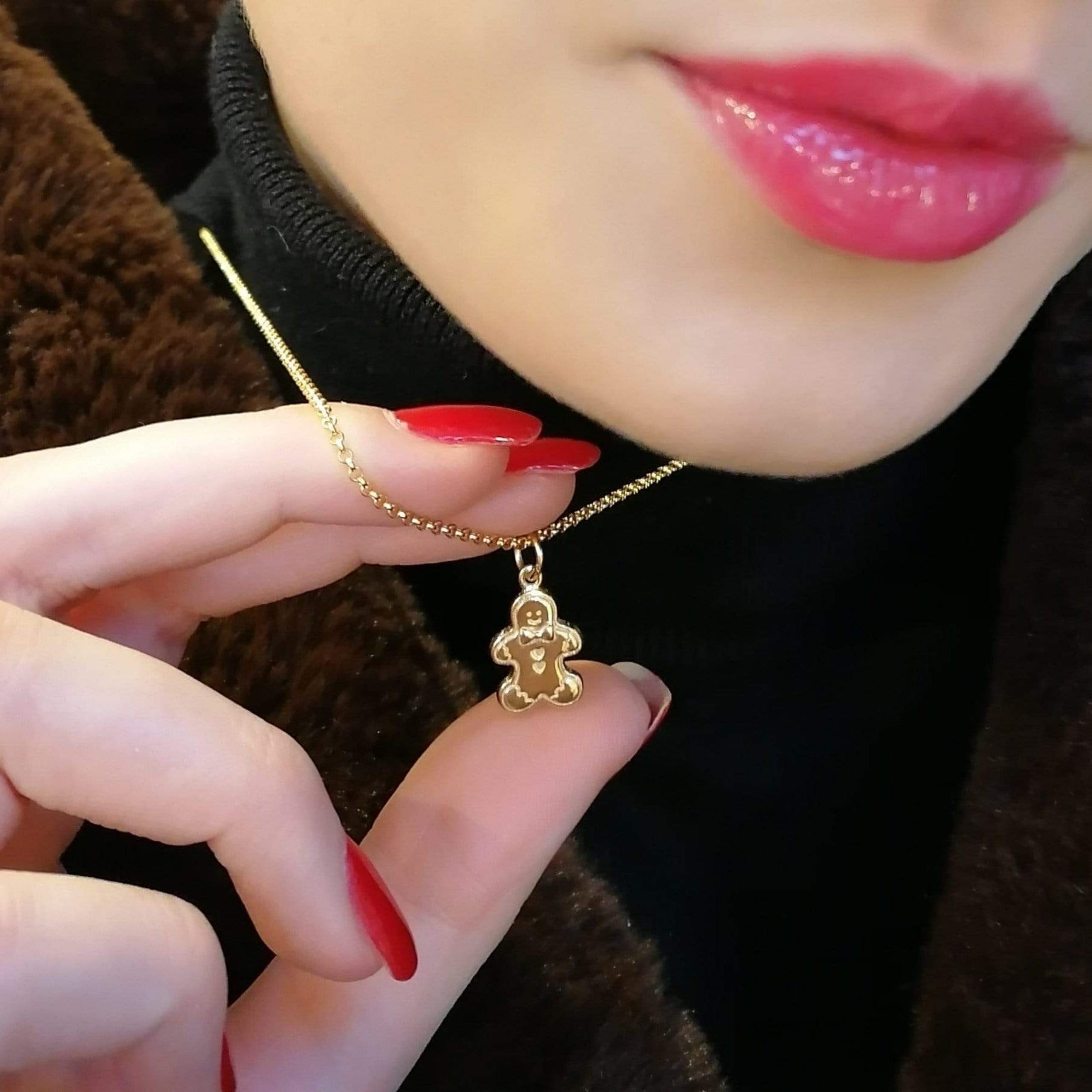 Gold Plated Ginerbread Man Necklace by Lily Charmed