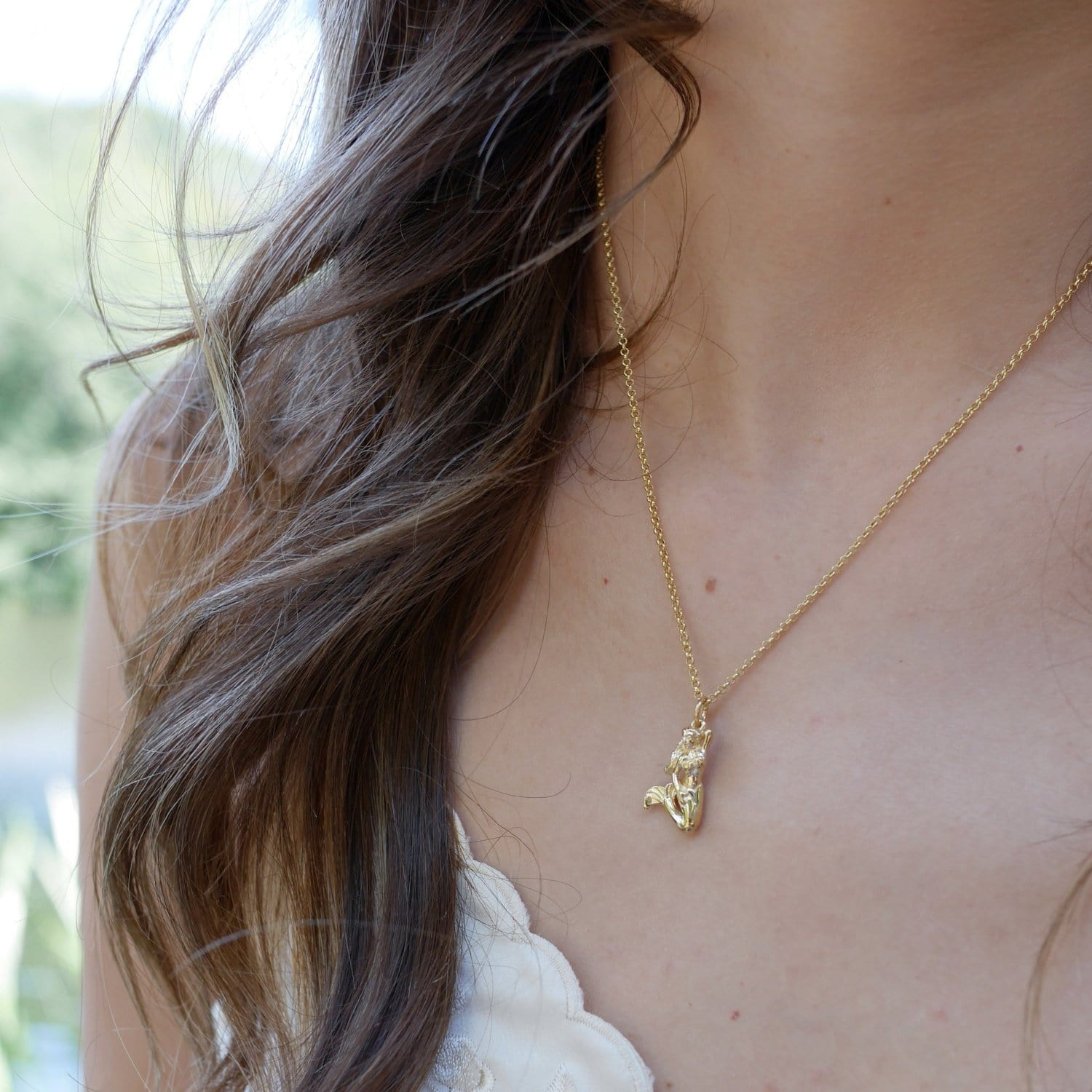 Personalised Gold Plated 3D Mermaid Necklace
