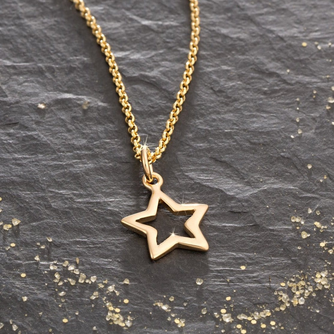 Gold Open Star Necklace by Lily Charmed