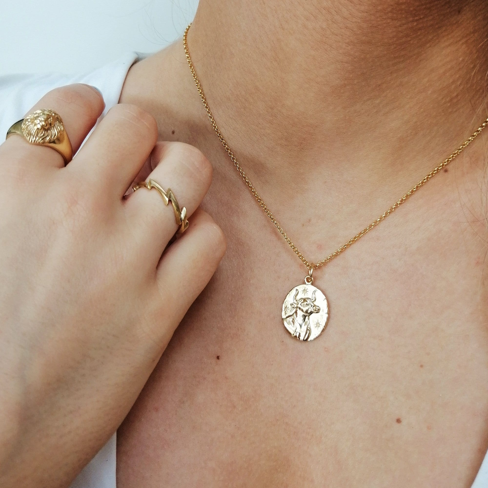 Engraved Gold Plated Taurus Zodiac Necklace - Lily Charmed