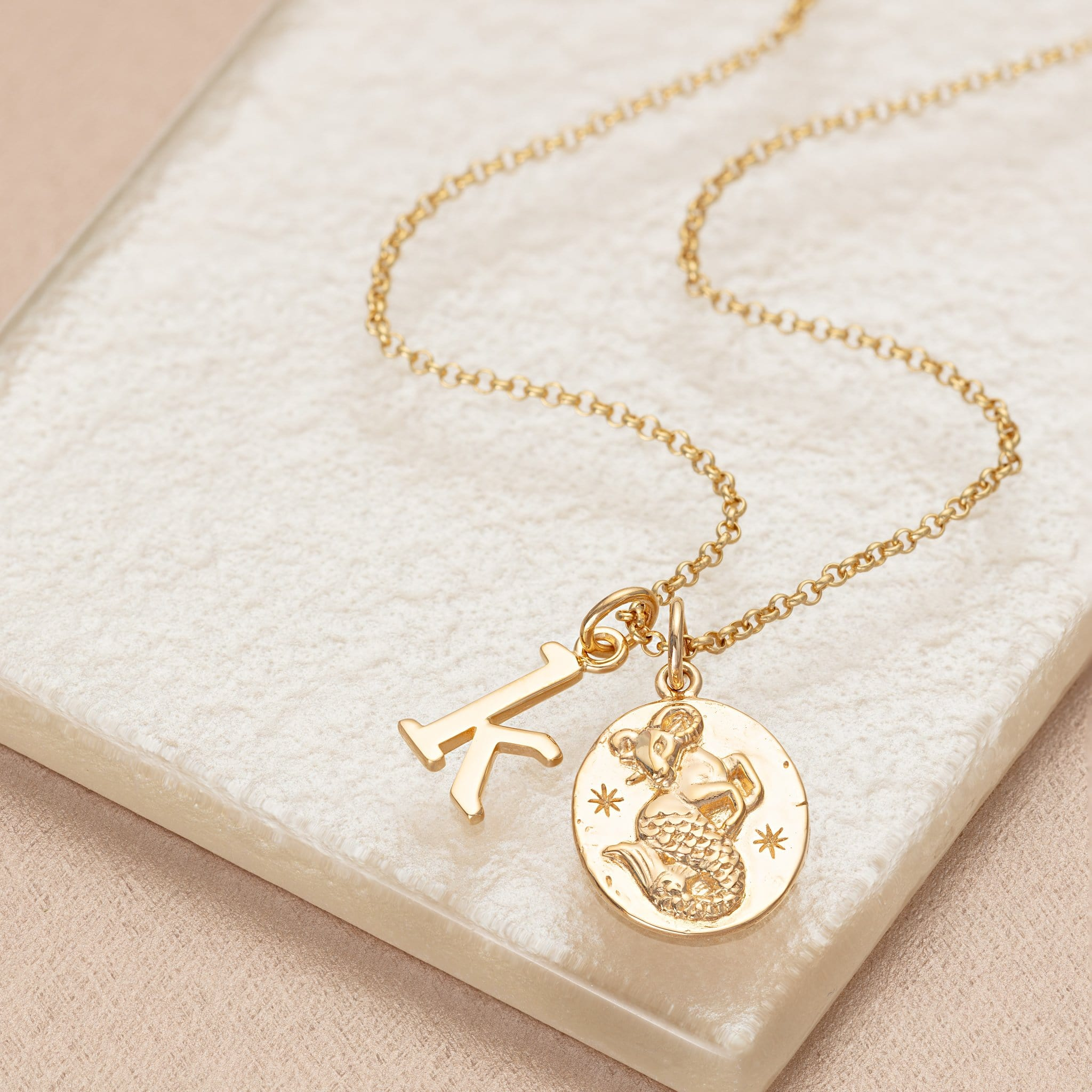 Personalised Gold Plated Capricorn Zodiac Necklace - Lily Charmed