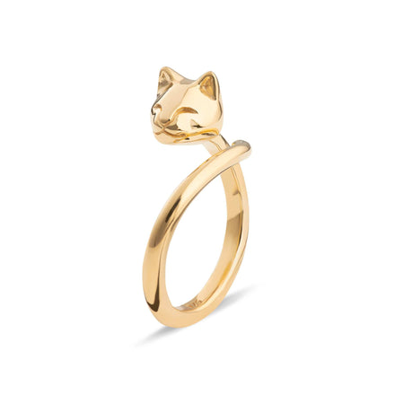 Gold Plated Cat Ring - Lily Charmed
