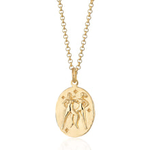 Engraved Gold Plated Gemini Zodiac Necklace - Lily Charmed