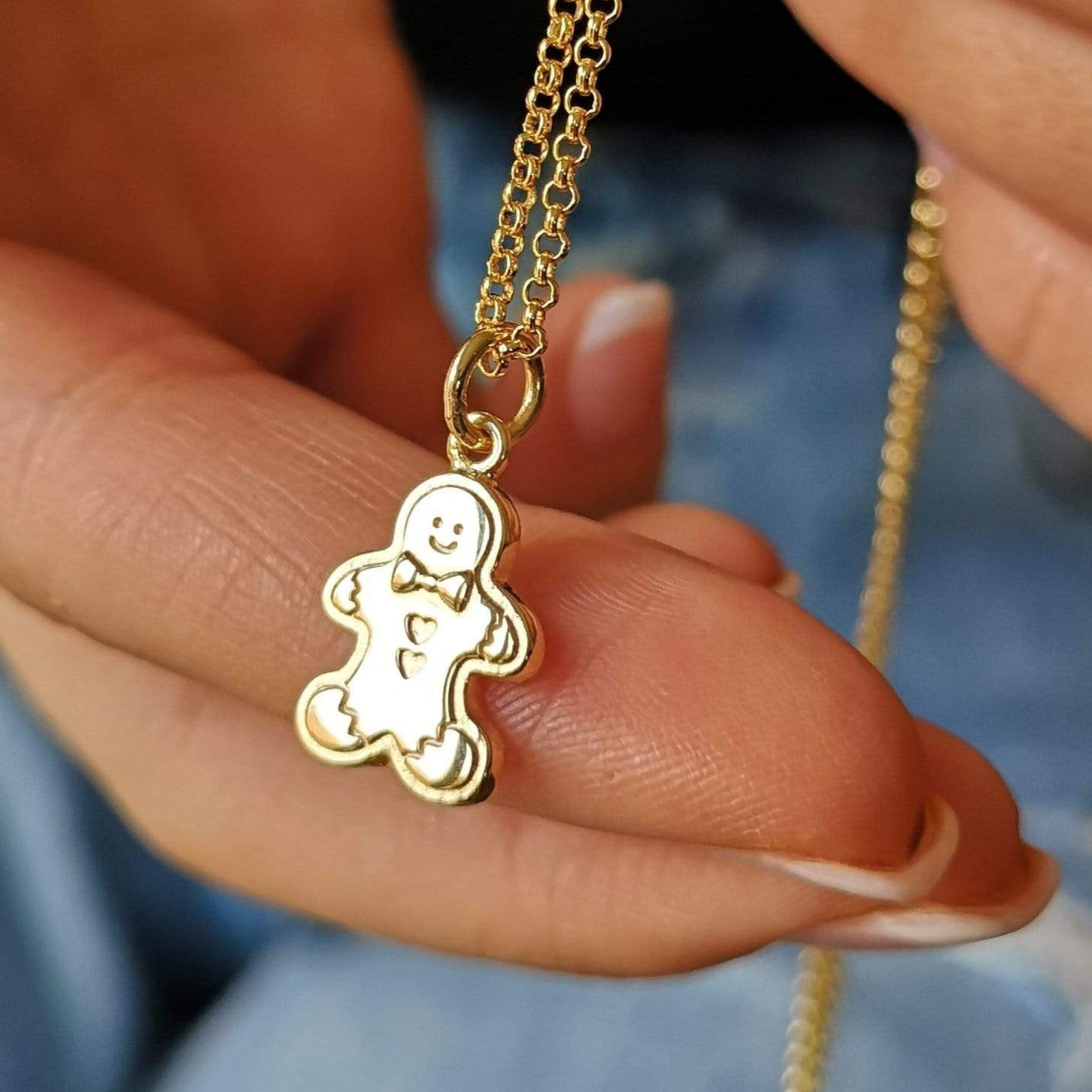 Gold Gingerbread Man Necklace by Lily Charmed