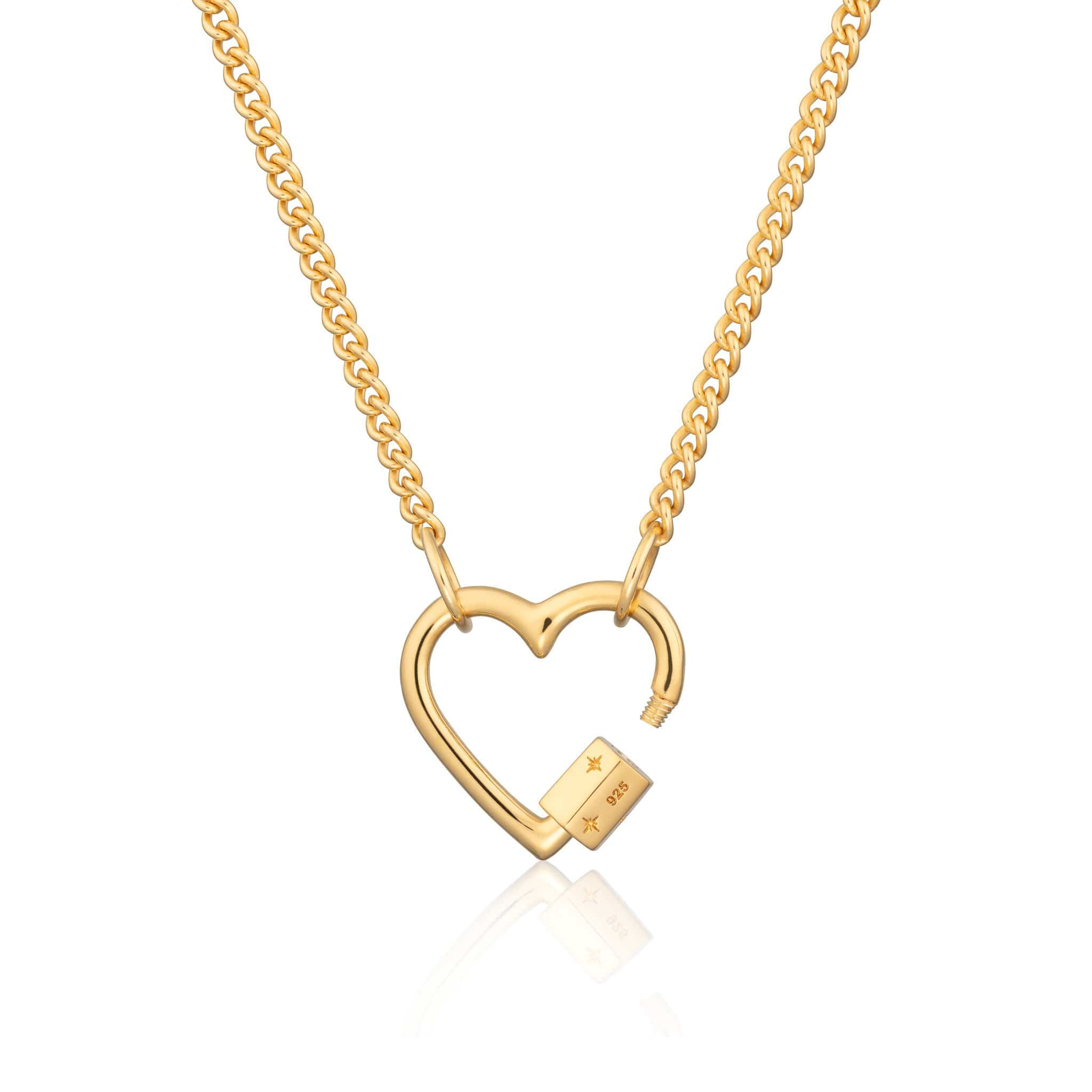 Gold Plated Heart Carabiner Curb Chain Necklace by Lily Charmed