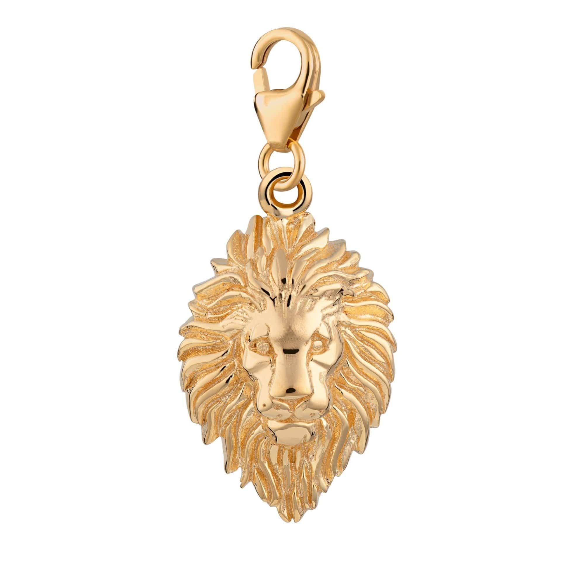 Gold Plated Lion Head Leo Zodiac Charm - Lily Charmed