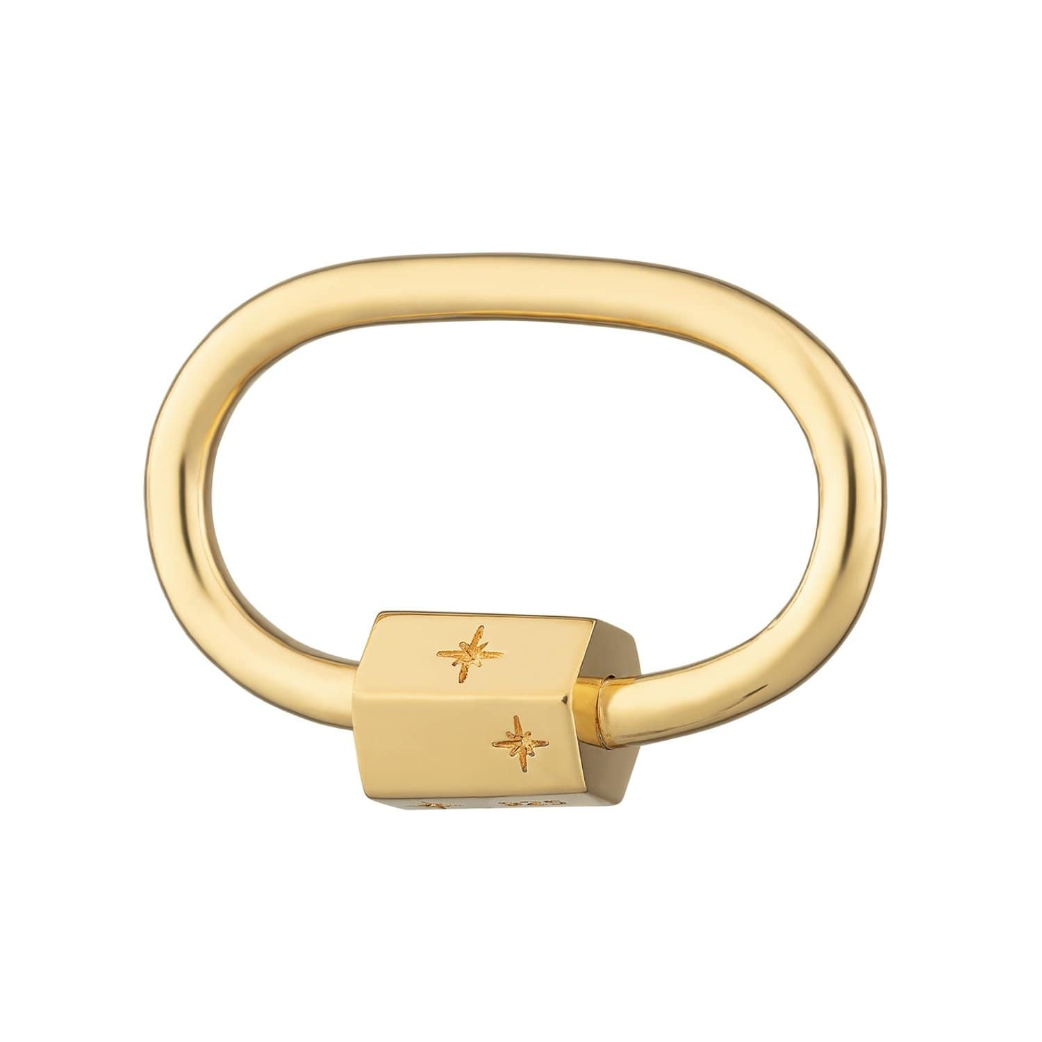Gold Plated Oval Carabiner Charm Lock by Lily Charmed
