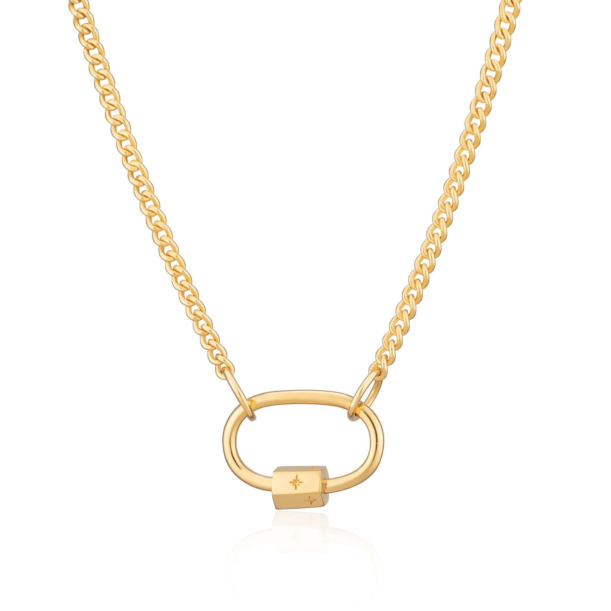 Gold Plated Oval Carabiner Curb Chain Necklace by Lily Charmed