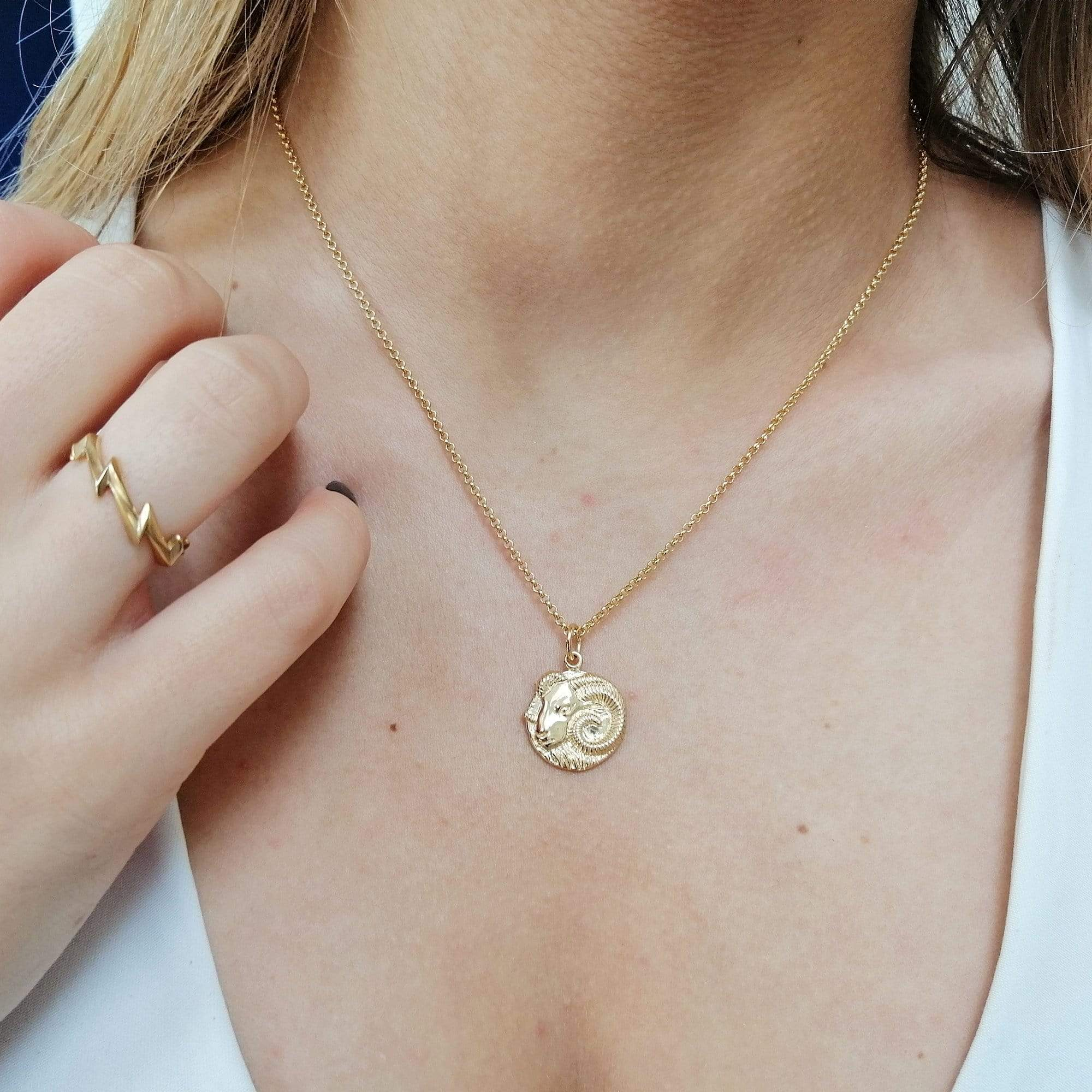 Engraved Gold Plated Aries Zodiac Necklace - Lily Charmed