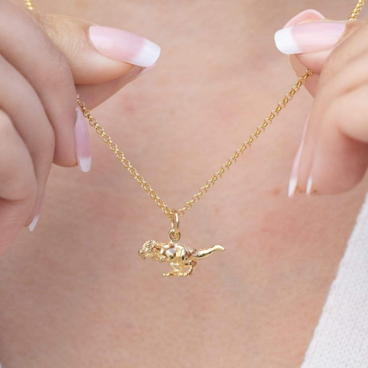 Personalised Gold Plated T-Rex Necklace - Lily Charmed