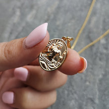 Engraved Gold Plated St Christopher Necklace