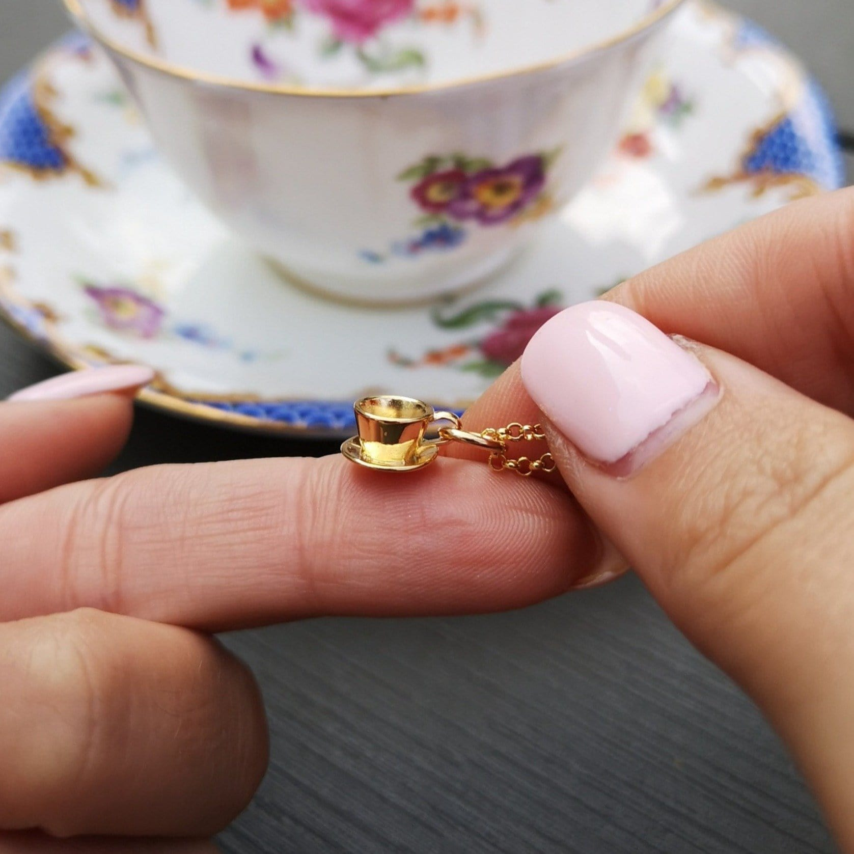 Personalised Gold Plated Teacup Necklace
