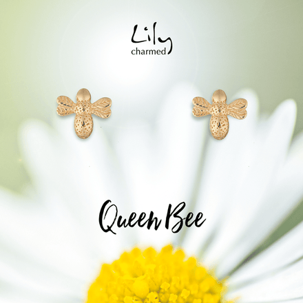 Gold Plated Bee Stud Earrings with 'Queen Bee' Message - Lily Charmed
