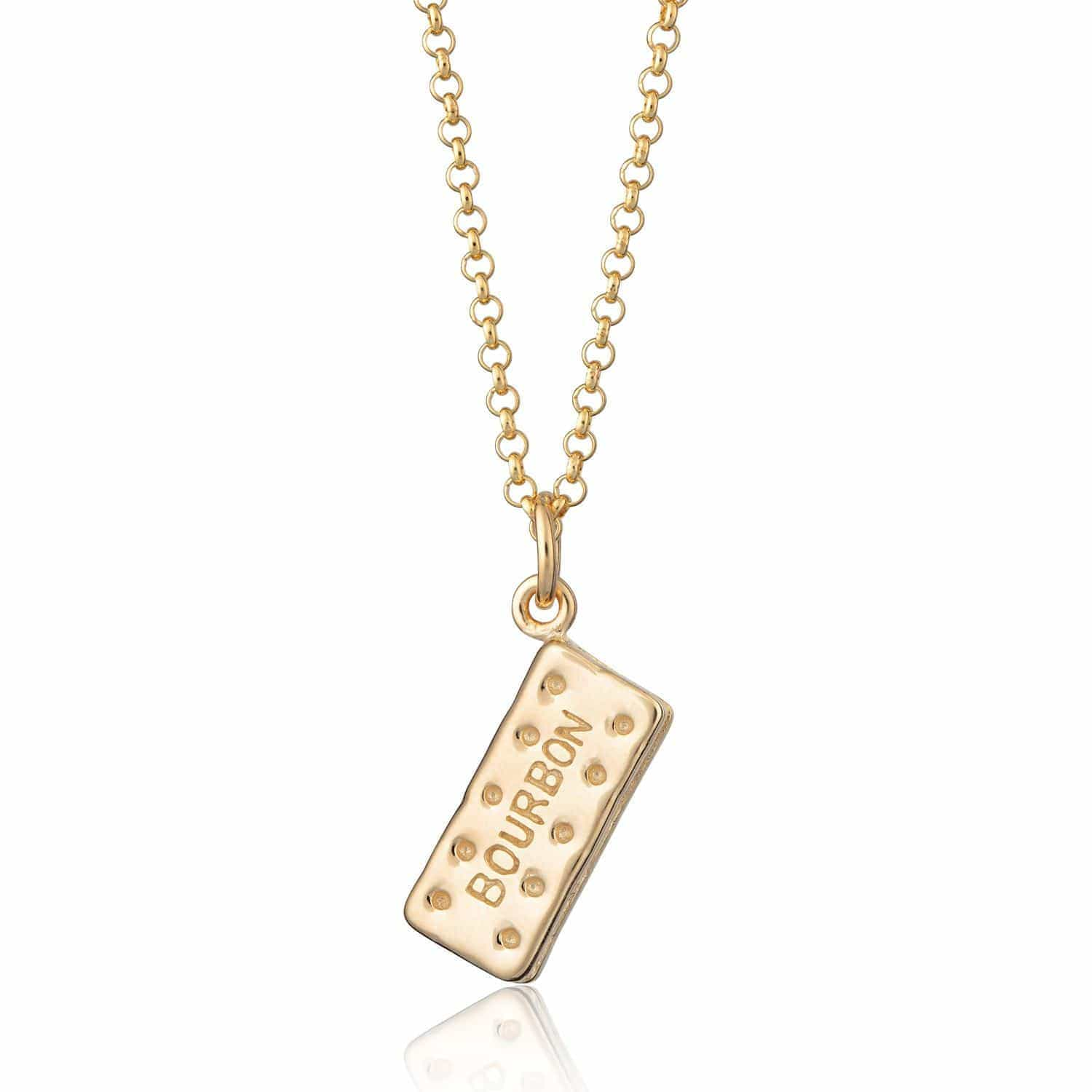 Personalised Gold Plated Bourbon Biscuit Necklace - Lily Charmed