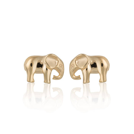 Gold Plated Elephant Stud Earrings - Lily Charmed