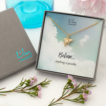 Gold Plated Flying Pig Necklace with 'Believe' Message - Lily Charmed