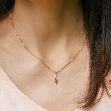 Personalised Gold Plated Lightning Bolt Necklace - Lily Charmed