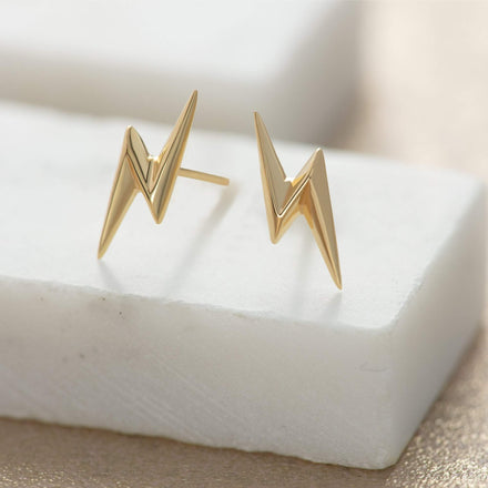 Gold Plated Lightning Bolt Stud Earrings - Lily Charmed