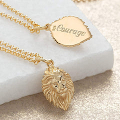 Engraved Silver Lion Head Necklace - Lily Charmed