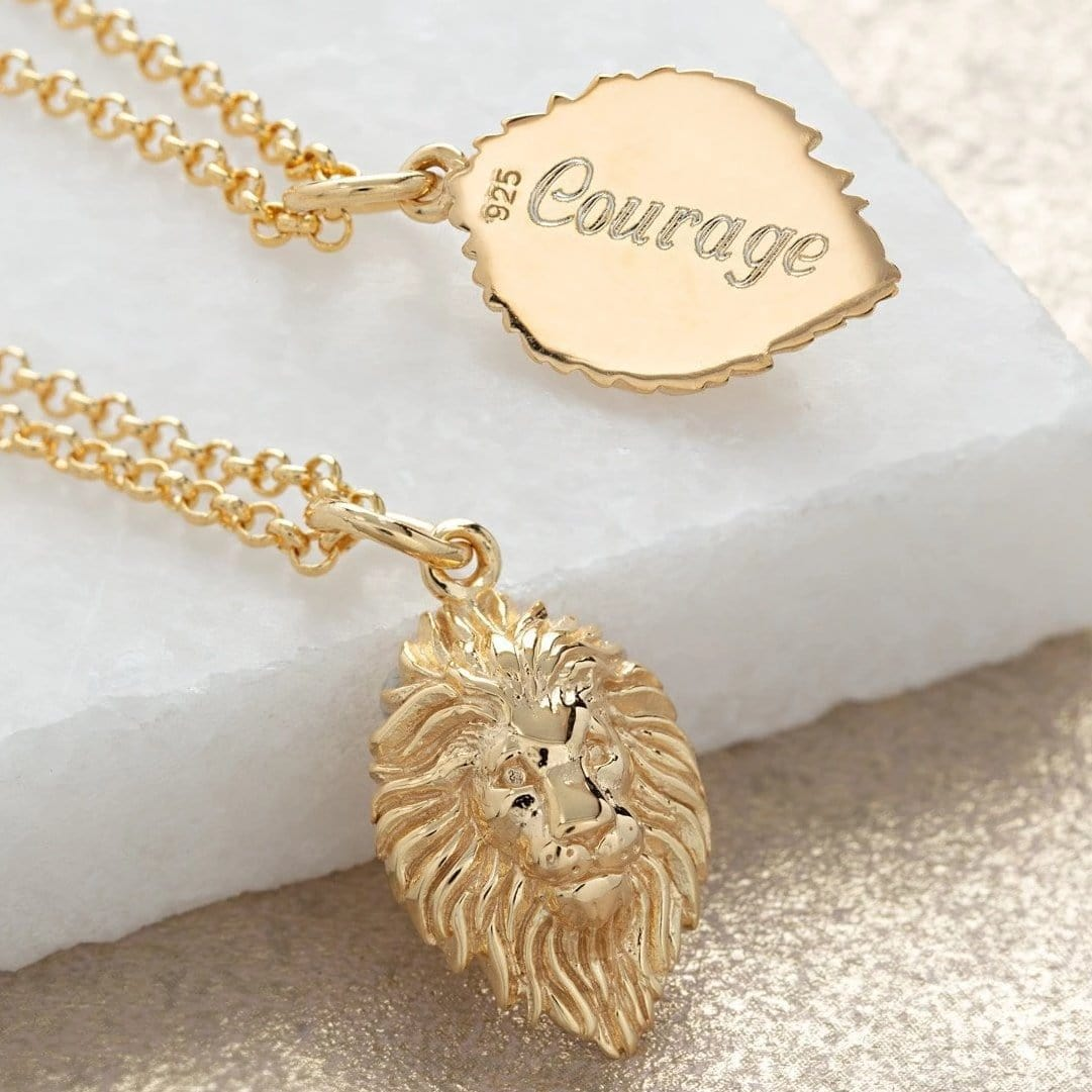 Engraved Gold Plated Lion Head Necklace - Lily Charmed