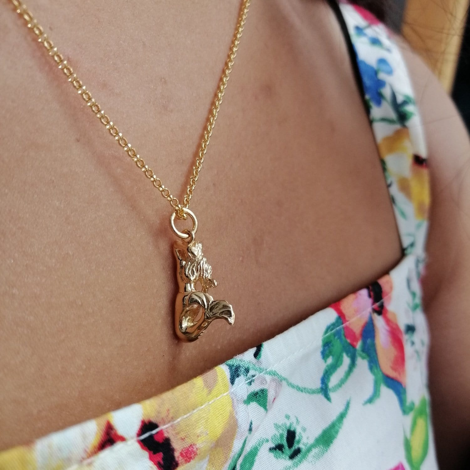 Personalised Gold Plated 3D Mermaid Necklace - Lily Charmed