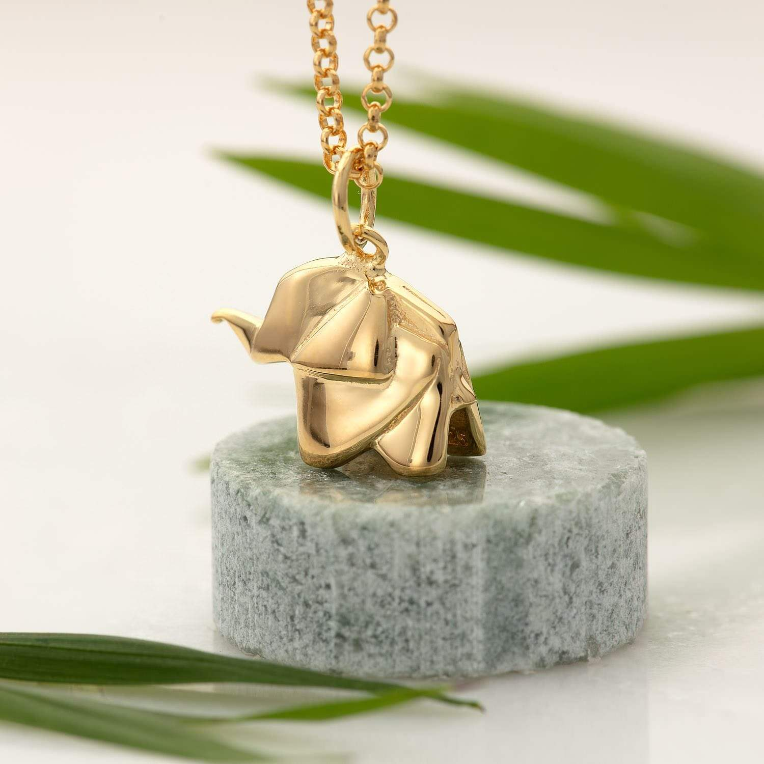 Personalised Gold Plated Origami Elephant Necklace - Lily Charmed