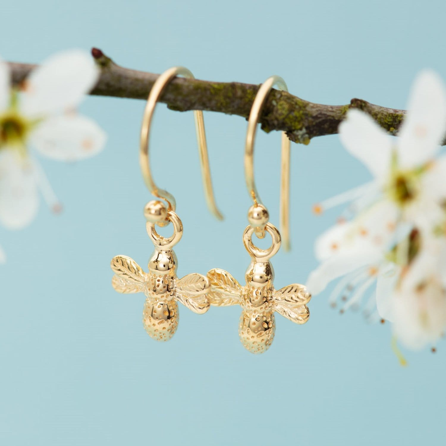 Gold Plated Bee Hook Earrings - Lily Charmed