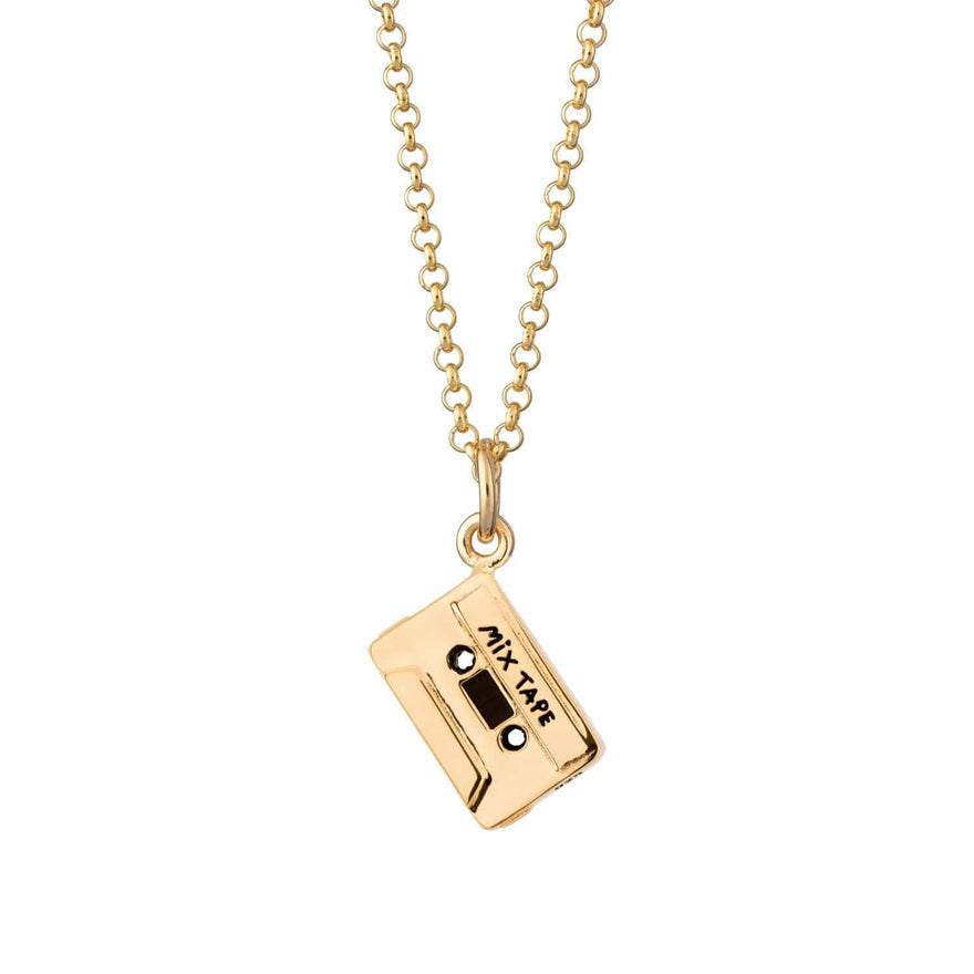 Personalised Gold Plated Cassette Tape Necklace - Lily Charmed