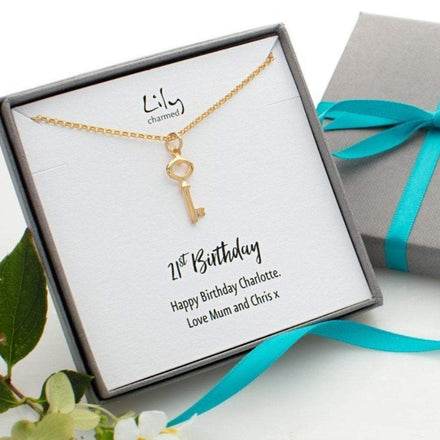 Personalised Gold Plated Key Necklace - Lily Charmed
