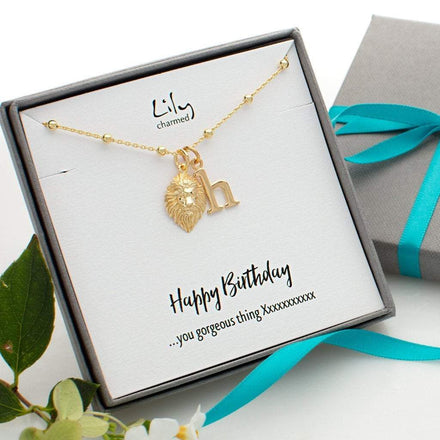 Personalised Gold Plated Lion Head Satellite Chain Necklace - Lily Charmed
