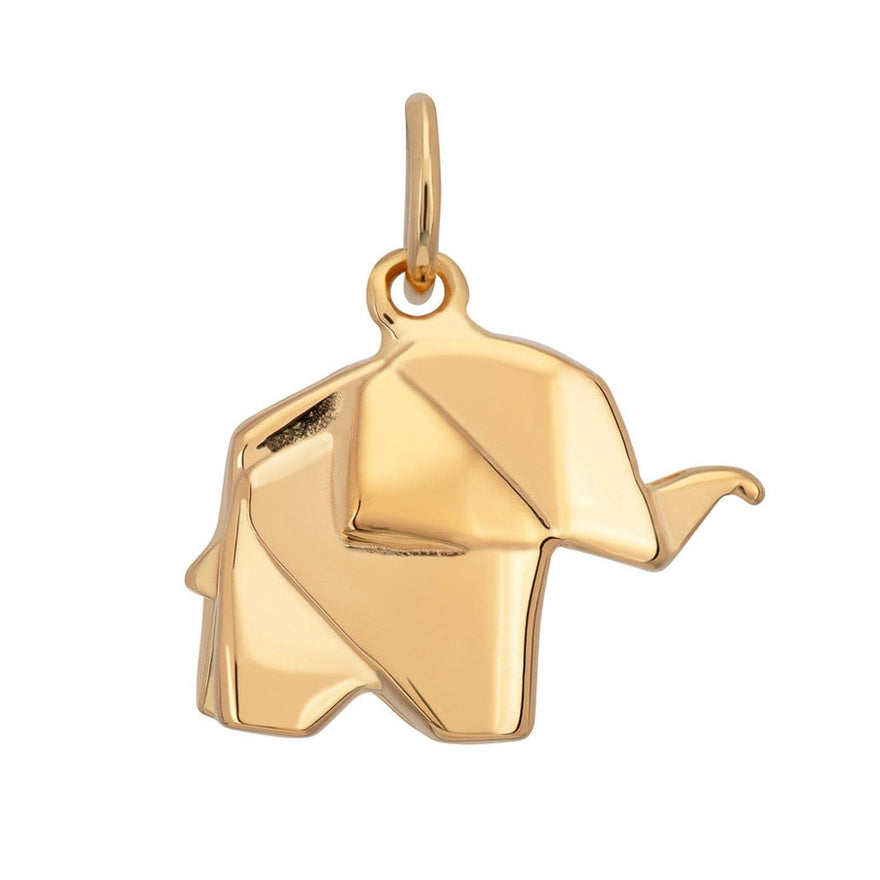 Gold Plated Origami Elephant Charm - Lily Charmed