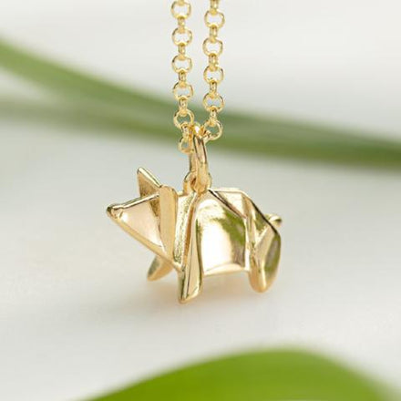 Personalised Gold Plated Origami Pig Necklace - Lily Charmed