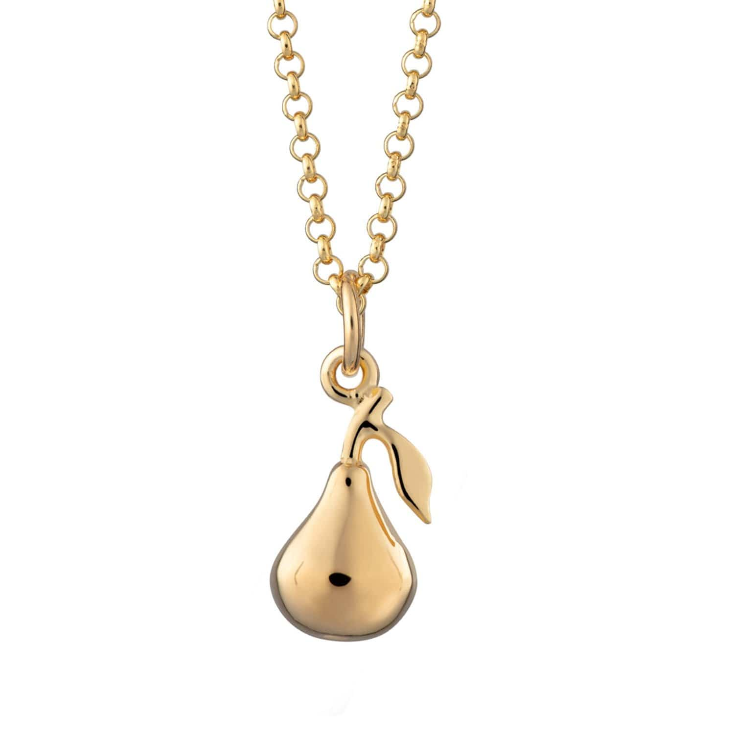 Personalised Gold Plated Pear Necklace - Lily Charmed