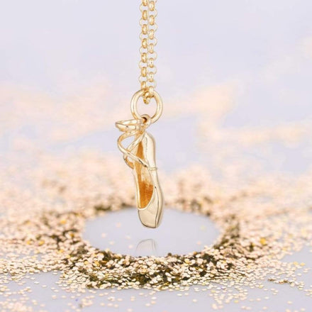 Personalised Gold Plated Pointe Ballet Shoe Necklace