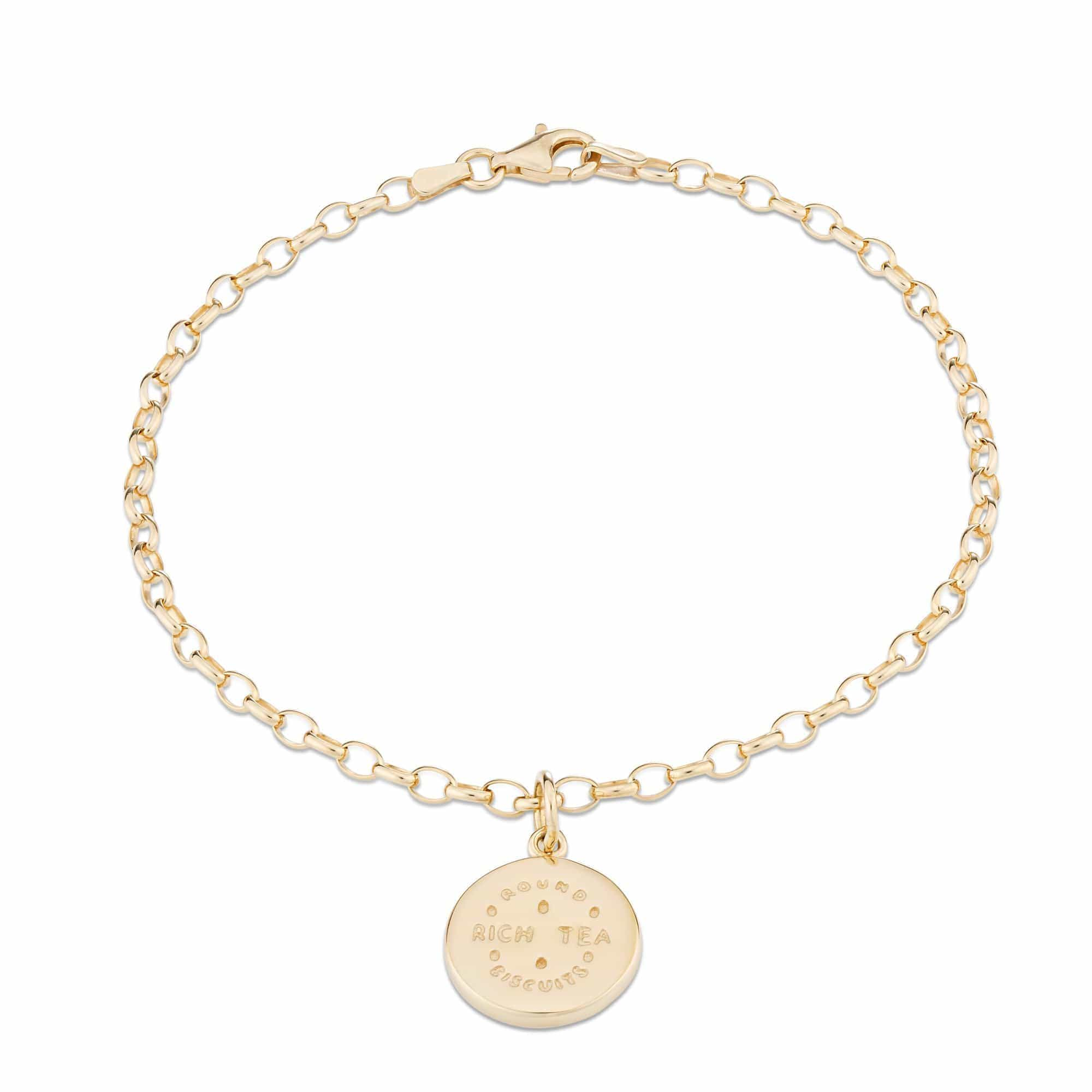 Personalised Gold Plated Rich Tea Charm Bracelet - Lily Charmed