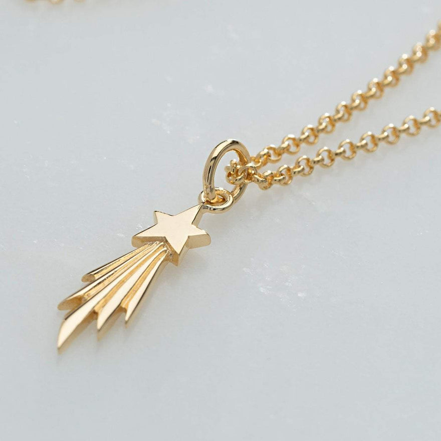 Personalised Gold Plated Shooting Star Necklace - Lily Charmed